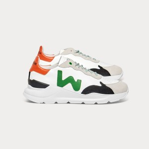 Man Sneakers WAVE WHITE GREEN ORANGE White MAN
