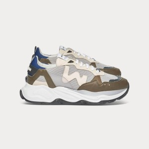 Man Sneakers FUTURA GREEN GREY BLUE White MAN