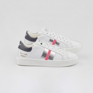 Woman Sneakers KINGSTON WHITE SILVER FUXIA White WOMAN