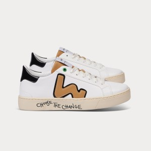 Vegan line Sneakers VEGAN SNIK WHITE CAMEL White WOMAN