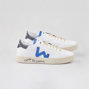 Man Sneakers VEGAN SNIK WHITE BLUE White MAN