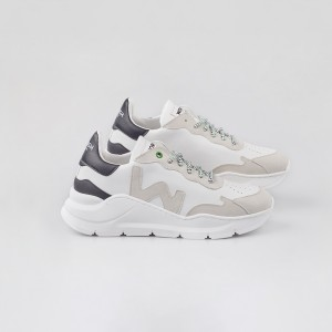 Woman Sneakers VEGAN WAVE WHITE BLACK White WOMAN